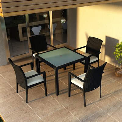 Eichhorn Contemporary 5 Piece Wicker Dining Set Finish: Coffee Bean, Fabric: Canvas Natural