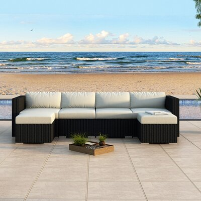 Urbana Sectional Finish: Coffee Bean, Fabric: Canvas Natural