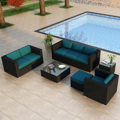 Eichhorn 5 Piece Deep Seating Group with Cushion Finish: Coffee Bean, Fabric: Spectrum Peacock