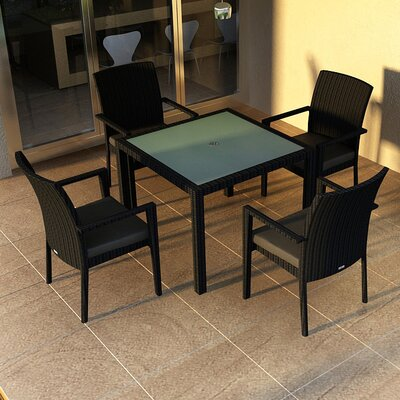 Eichhorn Contemporary 5 Piece Wicker Dining Set Fabric: Canvas Charcoal, Finish: Coffee Bean
