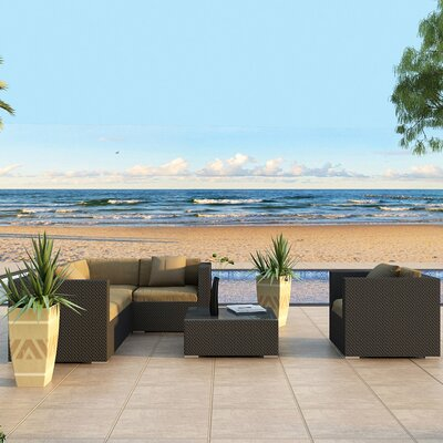 Eichhorn 5 Piece Wicker Deep Seating Group with Cushion Finish: Coffee Bean, Fabric: Heather Beige