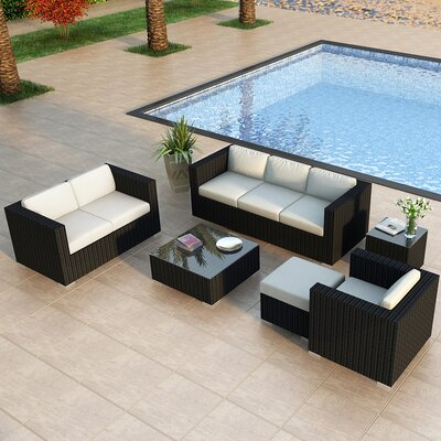 Eichhorn 5 Piece Deep Seating Group with Cushion Finish: Coffee Bean, Fabric: Spectrum Indigo