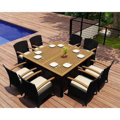 Garlyn 9 Piece Wicker Dining Set with Cushions Fabric: Canvas Natural