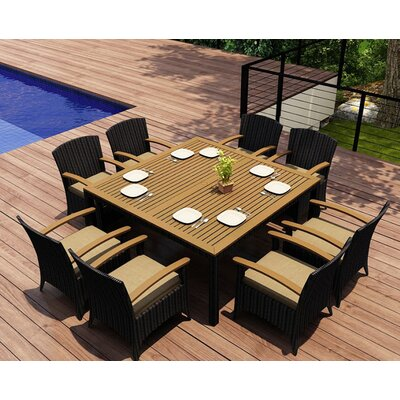 Garlyn 9 Piece Wicker Dining Set with Cushions Fabric: Heather Beige