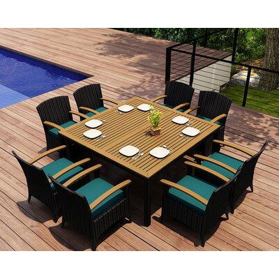 Garlyn 9 Piece Wicker Dining Set with Cushions Fabric: Spectrum Peacock