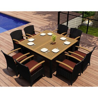 Garlyn 9 Piece Wicker Dining Set with Cushions Fabric: Canvas Henna