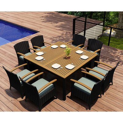 Garlyn 9 Piece Wicker Dining Set with Cushions Fabric: Canvas Spa