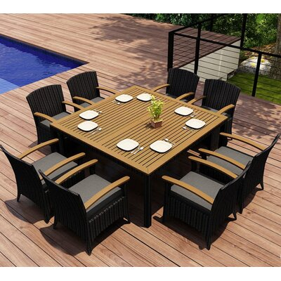 Garlyn 9 Piece Wicker Dining Set with Cushions Fabric: Canvas Charcoal