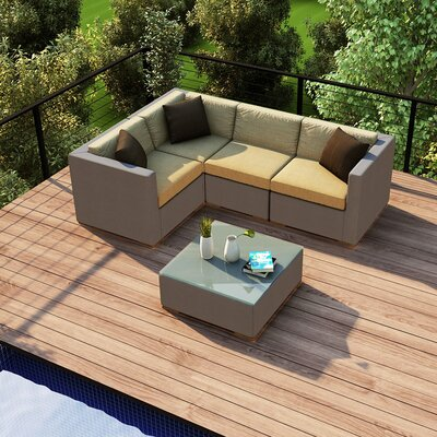 Element 5 Piece Deep Seating Group with Cushion Fabric: Heather Beige