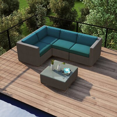Element 5 Piece Deep Seating Group with Cushion Fabric: Spectrum Peacock