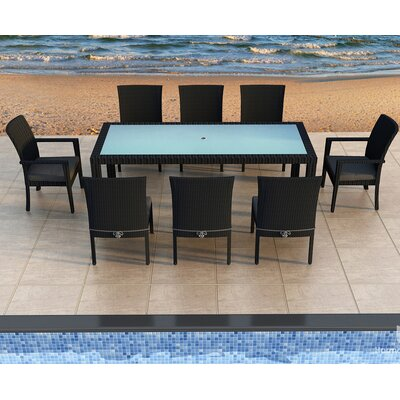 Eichhorn 9 Piece Dining Set Finish: Coffee Bean, Fabric: Spectrum Indigo
