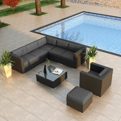 Eichhorn 8 Piece Deep Seating Group with Cushion Finish: Coffee Bean, Fabric: Spectrum Indigo