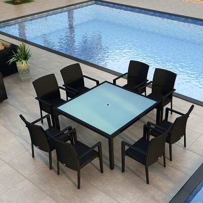 Eichhorn Contemporary 9 Piece Wicker Dining Set Finish: Coffee Bean