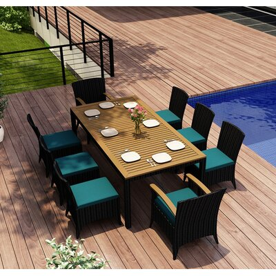 Garlyn 9 Piece Dining Set with Cushions Color: Spectrum Peacock