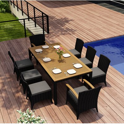 Garlyn 9 Piece Dining Set with Cushions Color: Canvas Charcoal