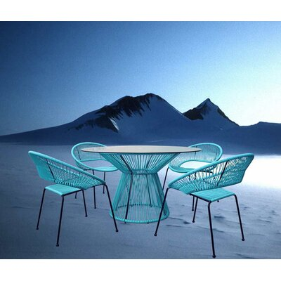 Ehrlich 5 Piece Dining Set Finish: Glacier Blue