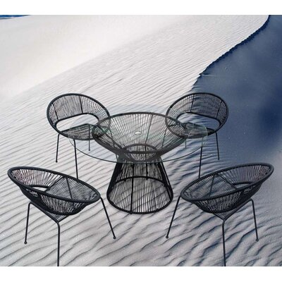 Acapulco 5 Piece Dining Set Finish: Jet Black