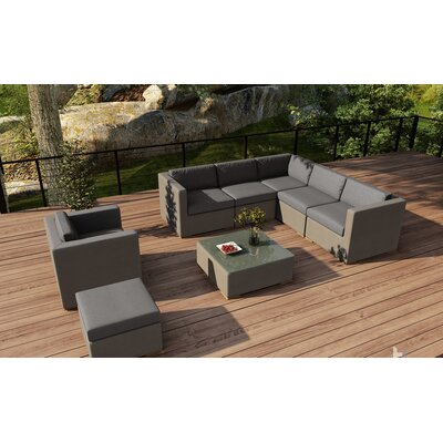 Element 8 Piece Lounge Seating Group with Cushion Fabric: Canvas Charcoal