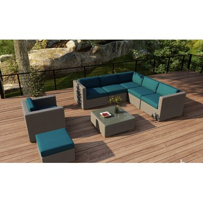 Element 8 Piece Lounge Seating Group with Cushion Fabric: Spectrum Peacock