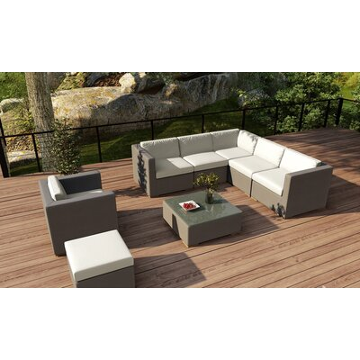 Element 8 Piece Lounge Seating Group with Cushion Fabric: Canvas Natural