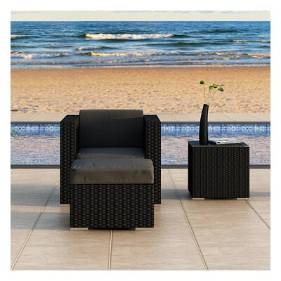 Eichhorn 3 Piece Deep Seating Group with Cushion Finish: Coffee Bean, Fabric: Canvas Charcoal