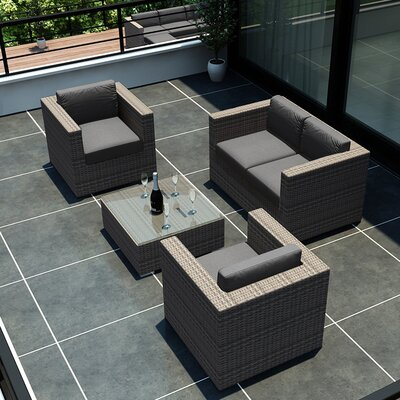 Eichhorn 4 Piece Wicker Deep Seating Group with Cushion Finish: Coffee Bean, Fabric: Spectrum Peacock