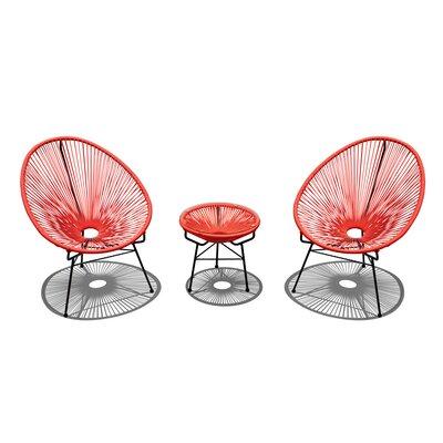 Ehrlich 3 Piece Conversation Set with Cushions Finish: Black, Seat Color: Atomic Tangerine IVBX2068 41878319