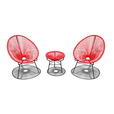 Ehrlich 3 Piece Conversation Set with Cushions Finish: Black, Seat Color: Candy Apple IVBX2068 41878320