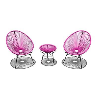 Ehrlich 3 Piece Conversation Set with Cushions Finish: Black, Seat Color: Hot Pink IVBX2068 41878323