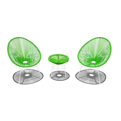 Ehrlich 3 Piece Conversation Set with Cushions Finish: White, Seat Color: Lime Green IVBX2068 41878325