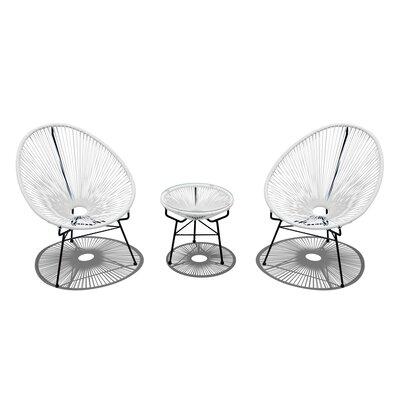 Ehrlich 3 Piece Conversation Set with Cushions Finish: Black, Seat Color: White Lightning IVBX2068 41878326