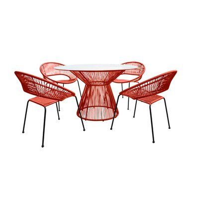 Ehrlich 5 Piece Dining Set Finish: Tangerine