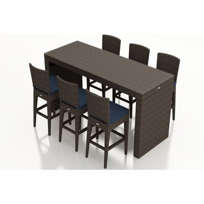 Arden 7 Piece Bar Set with Cushions Fabric: Spectrum Indigo