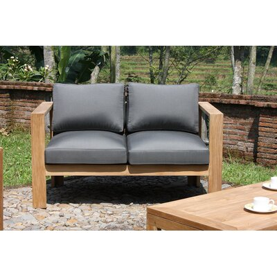 Ando Loveseat with Cushions Fabric: Canvas Charcoal