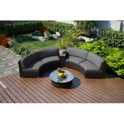 Arden 4 Piece Curved Seating Group with Cushions Fabric: Canvas Charcoal
