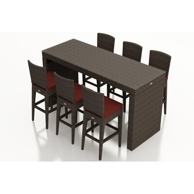 Arden 7 Piece Bar Set with Cushions Fabric: Canvas Henna