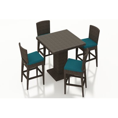 Arden 5 Piece Bar Set with Cushions Fabric: Spectrum Peacock