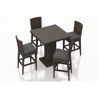 Arden 5 Piece Bar Set with Cushions Fabric: Canvas Charcoal