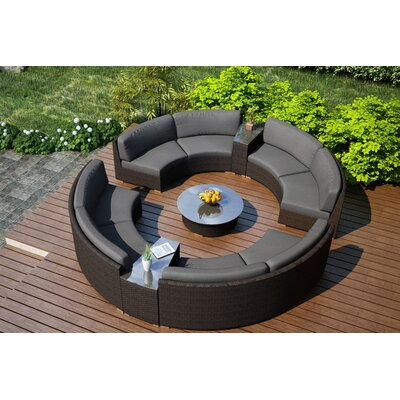 Arden 7 Piece Curved Deep Seating Group with Cushions Fabric: Canvas Charcoal