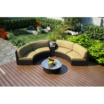 Arden 4 Piece Curved Seating Group with Cushions Fabric: Heather Beige