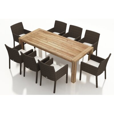 Arden 9 Piece Dining Set with Cushions Fabric: Canvas Natural