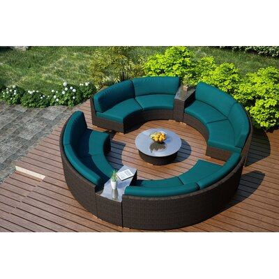 Arden 7 Piece Curved Deep Seating Group with Cushions Fabric: Spectrum Peacock