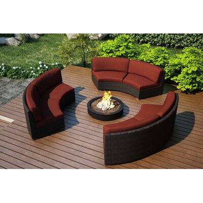Arden 3 Piece Curved Deep Seating Group with Cushions Fabric: Canvas Henna