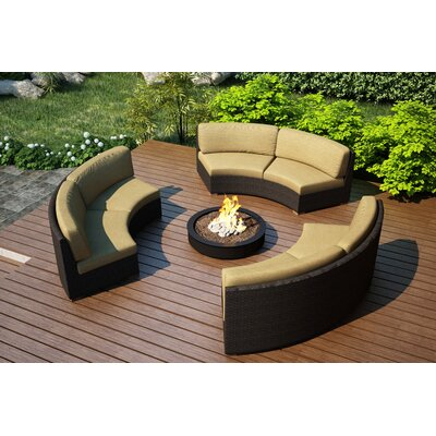 Arden 3 Piece Curved Deep Seating Group with Cushions Fabric: Heather Beige