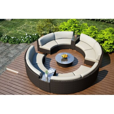 Arden 7 Piece Curved Deep Seating Group with Cushions Fabric: Canvas Natural