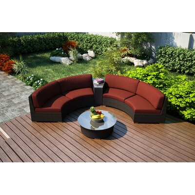 Arden 4 Piece Curved Seating Group with Cushions Fabric: Canvas Henna
