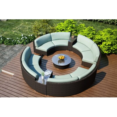 Arden 7 Piece Curved Deep Seating Group with Cushions Fabric: Canvas Spa