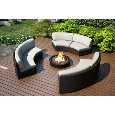 Arden 3 Piece Curved Deep Seating Group with Cushions Fabric: Canvas Natural