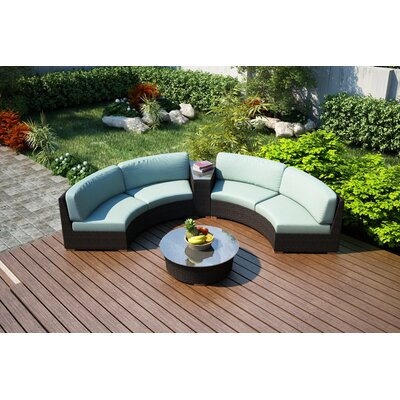 Arden 4 Piece Curved Seating Group with Cushions Fabric: Canvas Spa
