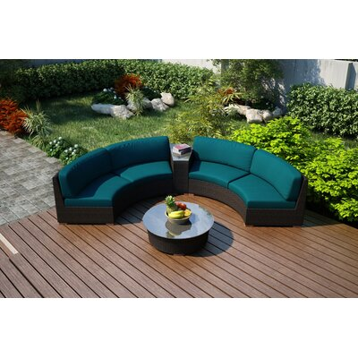Arden 4 Piece Curved Seating Group with Cushions Fabric: Spectrum Peacock